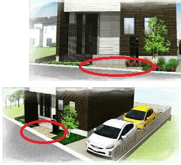 玄関ポーチ前から駐車スペースにかけてジュラストーンを配置