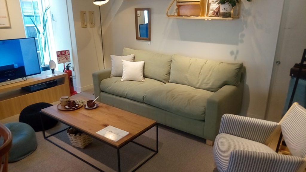 グリーン系のソファ