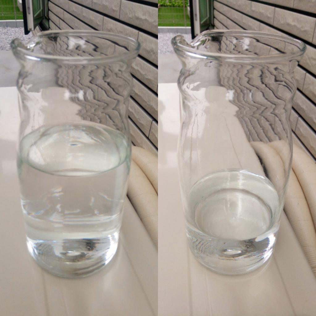 500mlの水道水を用意して、300mlくらい補充できました