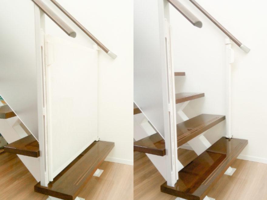 階段にキディガードを設置。左側が閉じた状態